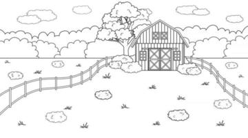 Black white monochrome Summer or spring farm concept in countryside Cartoon doodle vector cute Red barn fence and clouds field and trees bushes and plants for animal life background coloring book
