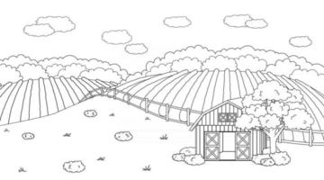Black white summer spring farm doodle concept in countryside Cartoon vector cute red barn with open doors fence clouds field planted plantations bushes plants for animal life for coloring books