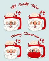 Set of cups with Santa Claus faces in glasses and mask from virus with marshmallows and red white lollipop Its Santa time and Merry Christmas lettering vector