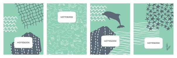 Abstract vector covers set with sea ocean motives and animals Geometric flat background design illustration for notebooks planners brochures books catalogs
