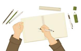 Exercise book or notebook for summary notes pen pencil marker ruler are on table Human starts writing something hands are shown White pen is in right hand Elements are isolated white background vector