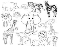 conjunto de dibujos animados blancos contorno aislado animales de la sabana tigre león rinoceronte jabalí común búfalo africano tortuga camaleón cebra avestruz elefante jirafa cocodrilo cobra para niños vector