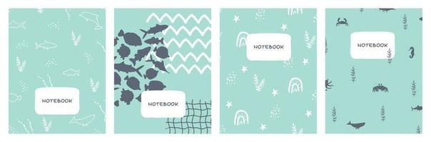 Modern abstract set of blue sea ocean covers designs Cute simple geometric backgrounds vector illustrations for notebooks planners books brochures catalogs