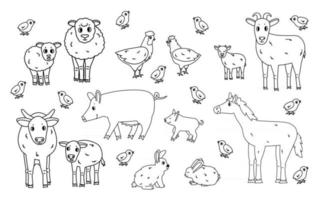 Set of cute doodle black outline vector cartoon animals at farm Sheep ram cow bull calf chicken rooster goat mother and kid pig small and big rabbit hare horse isolated on white background