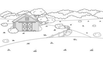Black white monochrome cartoon doodle vector cute summer or spring farm in countryside Red barn fence fields and trees bushes and plants for animals life background coloring books