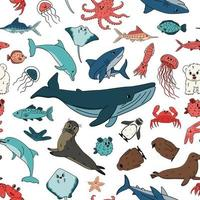 Seamless vector pattern of cartoon outline isolated sea ocean animals Doodle whale dolphin shark stingray jellyfish fish stars crab king Penguin chick octopus fur seal polar bear cub
