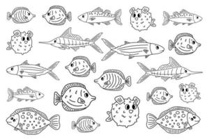 Set of outline white black different cartoon vector underwater fish tang flounder tuna ocean burrfish sea marlin Doodle isolated animals Illustration for children coloring book or prints