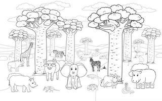 Black white African Madagascar baobab avenue with animals Vector outline Doodle cartoon hand drawn landscape with Tiger lion rhinoceros elephant giraffe crocodile chameleon zebra for coloring book