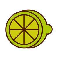comida sana producto de fruta fresca medio limón línea de cítricos e icono de estilo de relleno vector