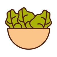 healthy food fresh vegetable raw ingredient bowl with salad line and fill style icon vector