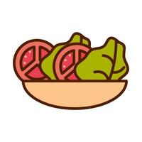 healthy food fresh vegetable raw ingredient tomato lettuce salad in bowl line and fill style icon vector