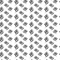 Black and white pattern with leaves and twigs of plants. Seamless pattern in a minimalistic Scandinavian style.Black twigs on a white background. Vector illustration. Design for printing