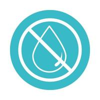 water drop forbidden nature liquid blue block style icon vector