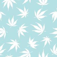 Seamless pattern of cannabis leaves on a blue background. White hemp leaves on a blue background. Vector illustration. Cannabis