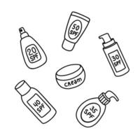 Vector illustration of bottles and jar of assorted sunblock products and cream for skin care procedure