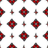 Flor roja estilo tatuaje de la vieja escuela de patrones sin fisuras. ilustración vectorial en estilo doodle. diseño para textiles, papel, envoltorios vector