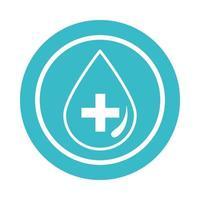 medical water drop health liquid blue block style icon vector