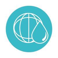 world water drop nature liquid blue block style icon vector