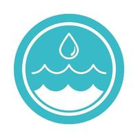 water drop and ripples nature liquid blue block style icon vector