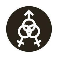 bisexual woman gender symbol of sexual orientation block style icon vector
