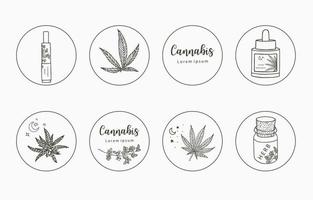 Line object collection with cannabis vector