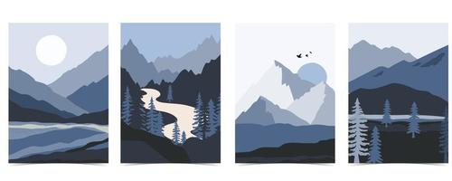Collection of nature landscape background set with mountain vector