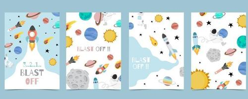 Collection of space background set with astronaut vector
