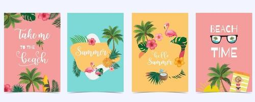 Collection of summer background set vector