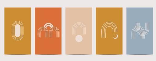 boho background for social media with rainbow vector