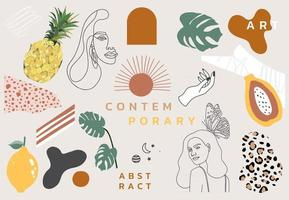 Collection of contemporary object set with woman vector