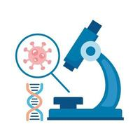 covid19 particle in microscope and dna molecule flat style icon vector