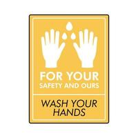 wash your hands lettering campaign in square stamp vector