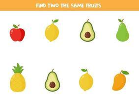 Encuentra dos frutas idénticas juego educativo para niños en edad preescolar. vector