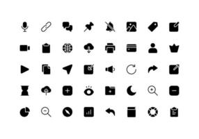 User Interface Essentials Glyph Style Icon Set vector