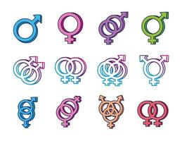 bundle of gender symbols of sexual orientation multi style icons vector