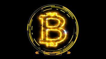 bitcoin ljuseffekt och futuristisk digital mall video