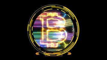 efeito de luz bitcoin e modelo digital de circuito de energia colorido futurístico video
