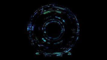 kvantdator kraftfull energi futuristisk teknik digital holografisk processanalys för big data och abstrakt polygonbakgrund video