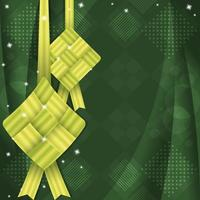 fondo verde degradado de ketupat vector
