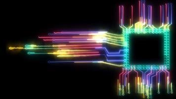 futuristico arcobaleno astratto digitale intelligente contorto luce chip ad alta velocità tecnologia di elaborazione dati piena potenza ed energia cellulare in movimento video