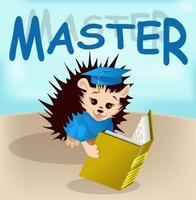 Vector image of a hedgehog with a book from a series of illustrations with a hedgehog