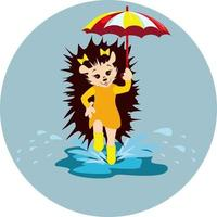 Vector image of a hedgehog with an umbrella in his hand