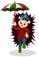 WebVector image of a hedgehog with an umbrella in his hand vector