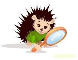 Vector image of a hedgehog with a magnifying glass from a series of illustrations with a hedgehog