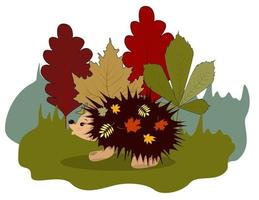 Vector image of a hedgehog walking on a forest lawn