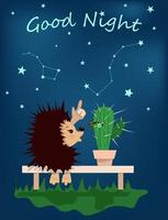 Vector image of a hedgehog with a cactus on a bench under the starry sky