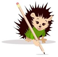 Vector image of a hedgehog with a pencil from a series of illustrations with a hedgehog