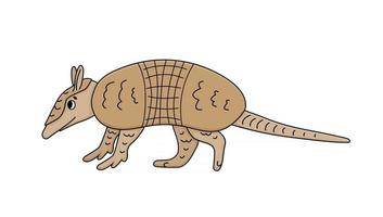 Vector cute brown doodle Armadillo Cartoon animal mammal is going to somewhere