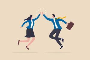 Team success winners hi five or congratulation on business goal achievement collaboration or encouragement concept happy businessman and woman teamwork coworkers jumping and hi five clapping hands vector