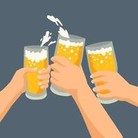 Clinking hands with beer and foam vector